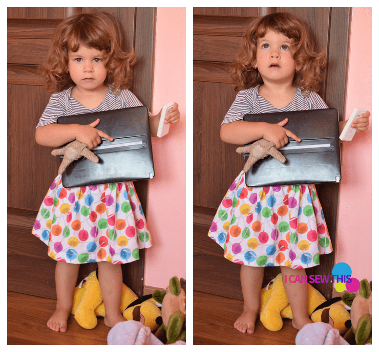 Simple cotton skirt tutorial, little girl, toys