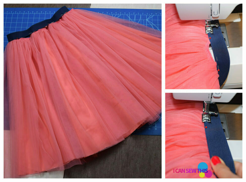 pink tulle skirt, sewing tutorial, cutting mat, sewing machine, sewing elastic to tulle skirt