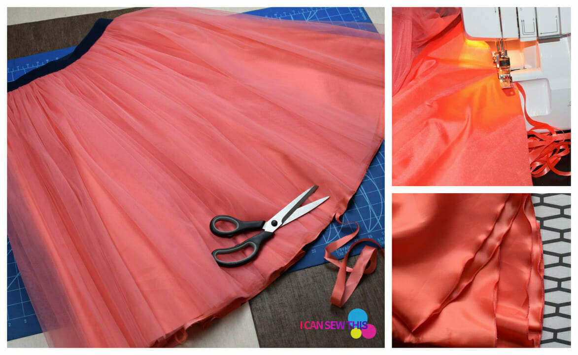 pink tulle skirt, sewing tutorial, fabric scissors, serger brother 1034D, cutting mat