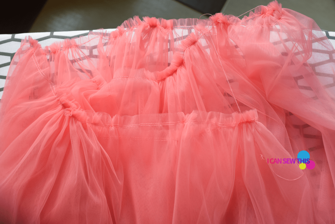 gathering tulle fabric, basting tulle fabric, gathered tulle layers