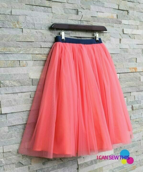 pink tulle skirt with elastic waistband