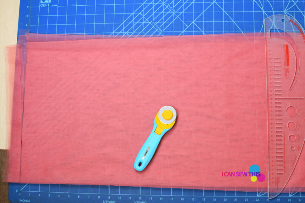 tulle fabric, rotary cutter, acrylic ruler, self-healing cutting mat