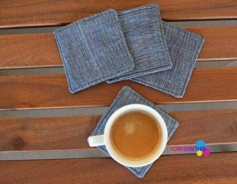 DIY fabric coasters, coffee cup