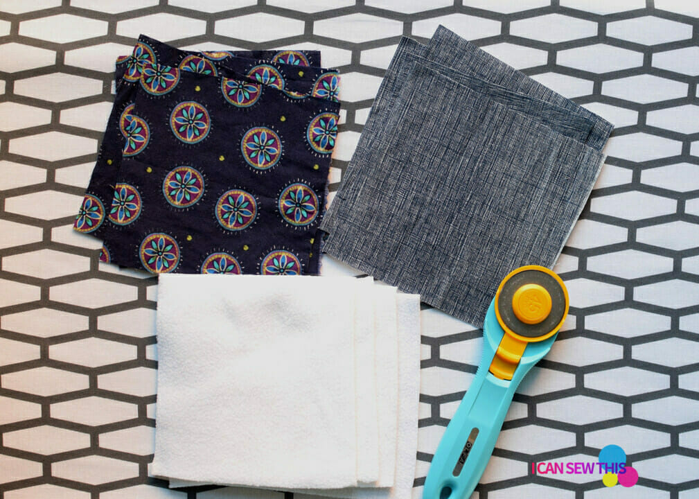 DIY fabric coasters, fabric, rotary cutter
