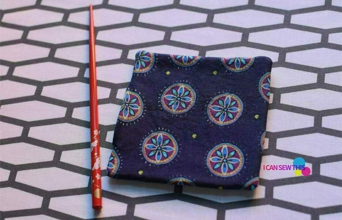 DIY fabric coasters, chopstick