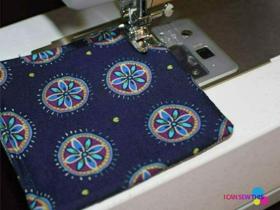 DIY fabric coasters, sewing machine