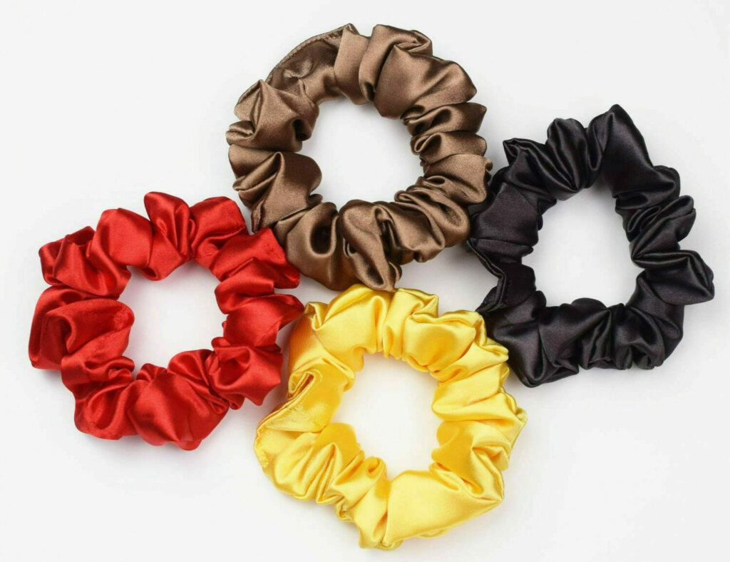 DIY colorful satin scrunchies