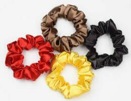 DIY colorful satin scrunchies