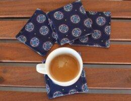 fabric coasters, hot coffee