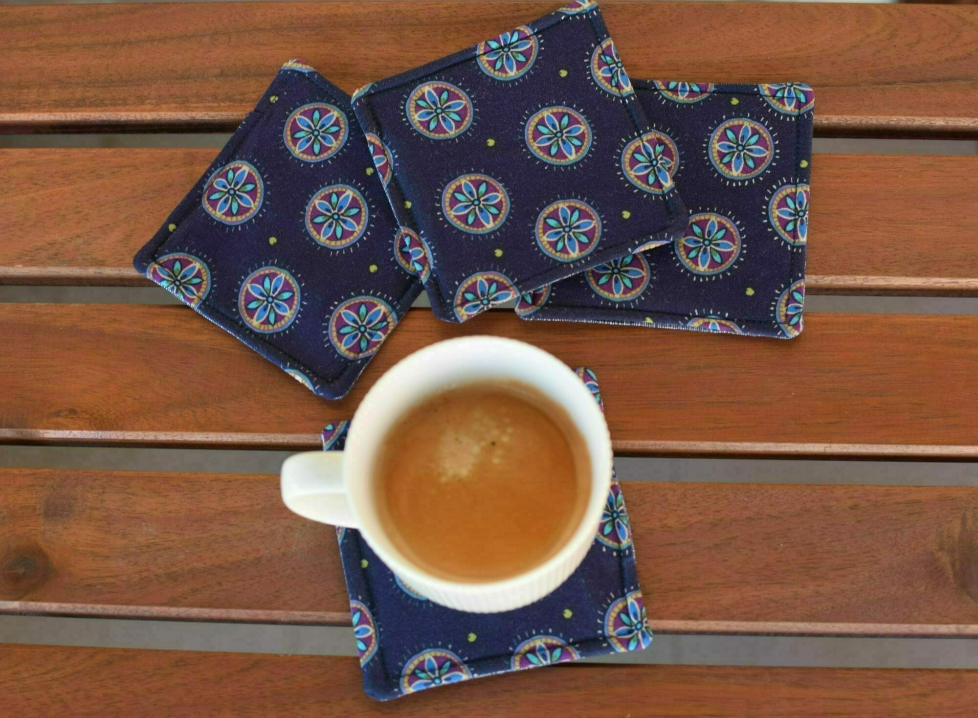 fabric coasters, hot coffee