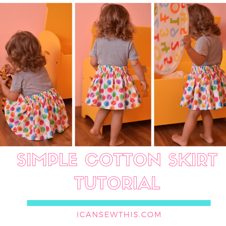 little girl wearing a simple cotton skirt, sewing tutorial