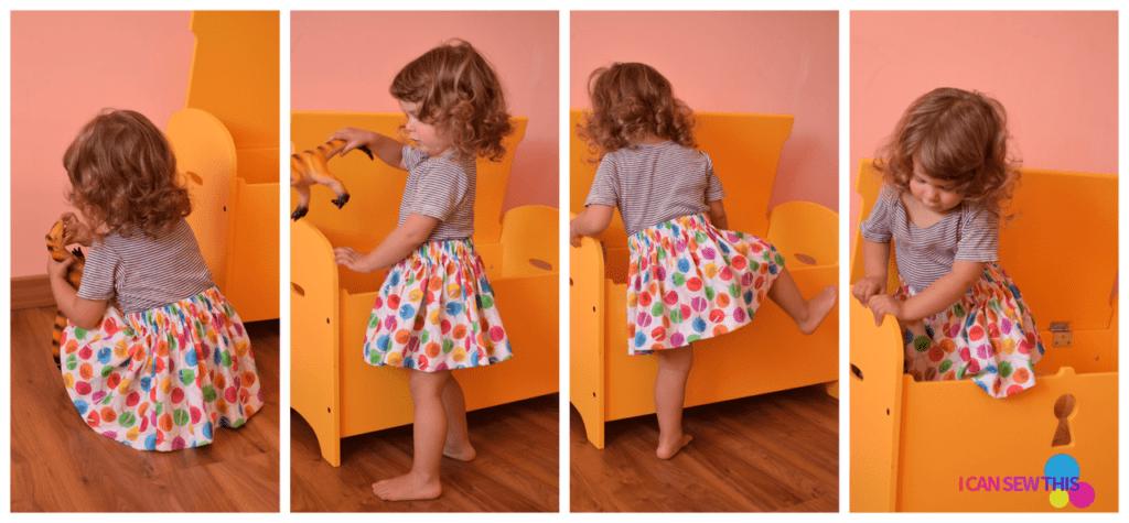 little girl wearing a simple cotton skirt
