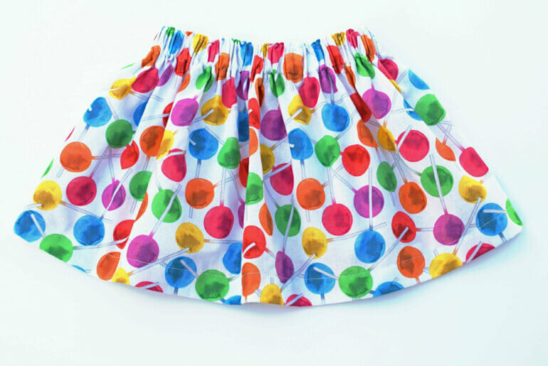 simple cotton skirt, lollipop print fabric