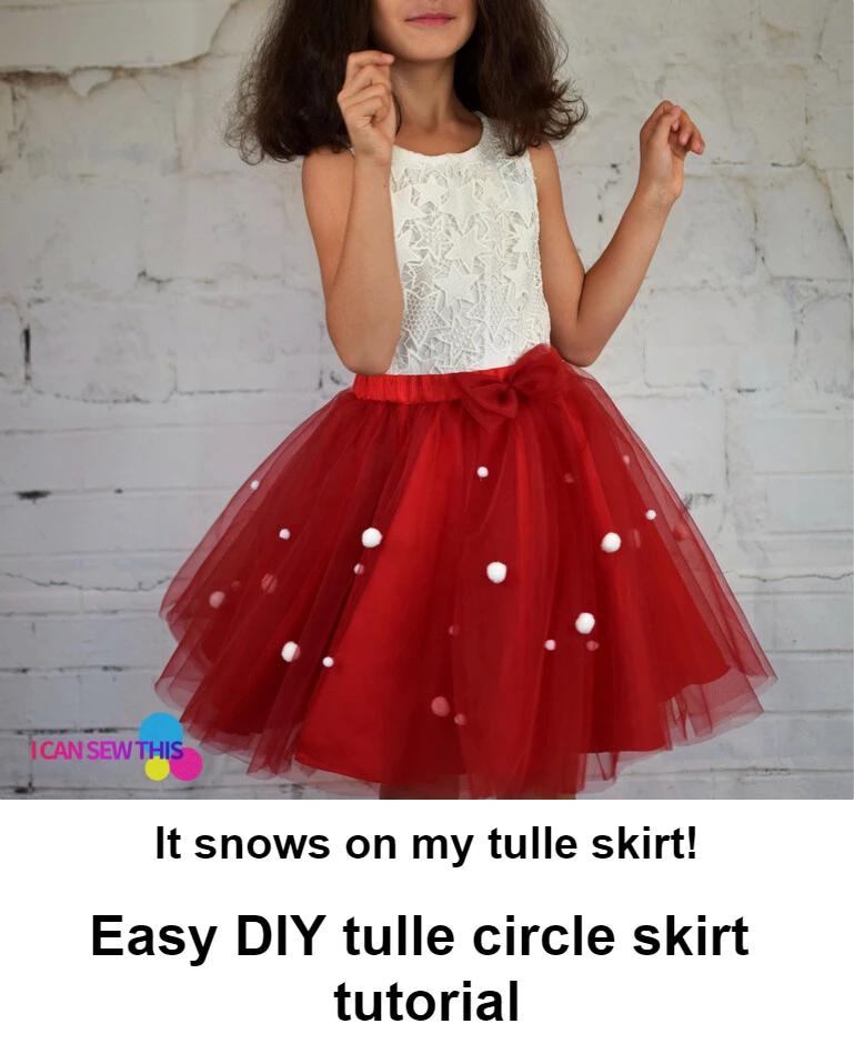 DIY Christmas tulle circle skirt tutorial