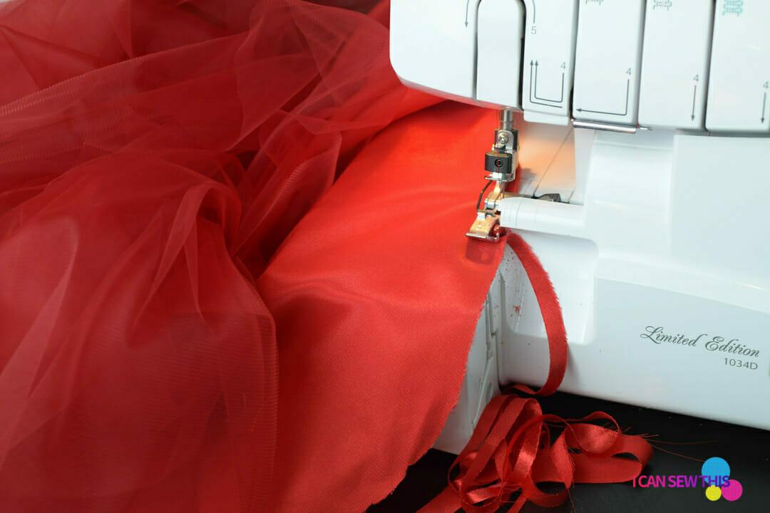 DIY Christmas tulle skirt, serger, hem