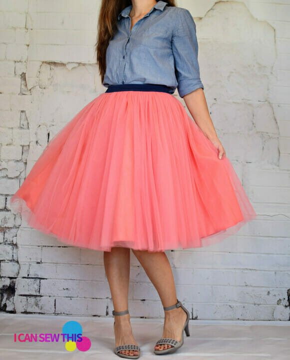 woman wearing a diy tulle skirt
