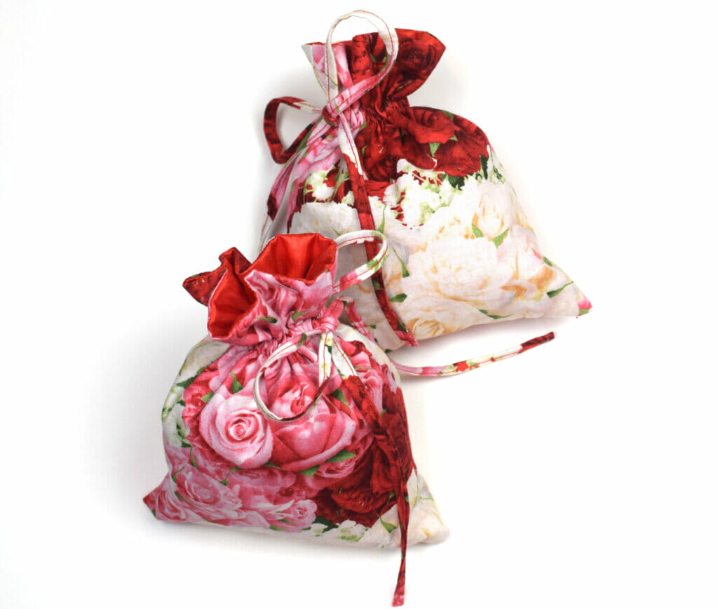 lined drawstring bags tied with simple bows