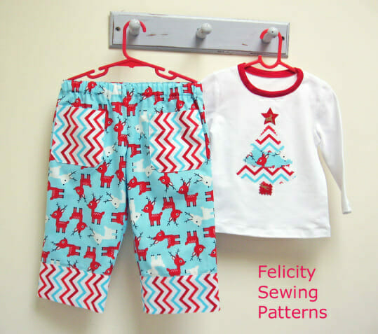 Play Pants with bonus Christmas tree applique
