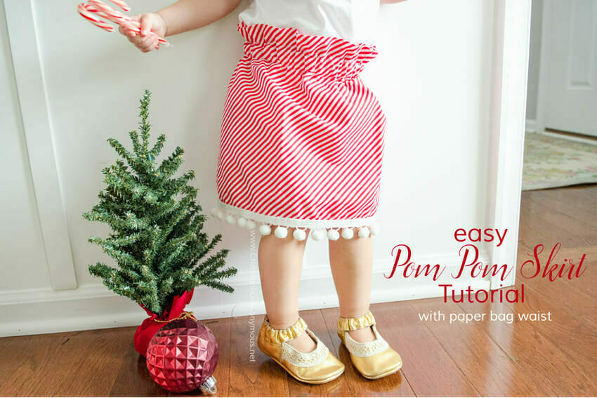 Candy cane stripe and pom pom skirt