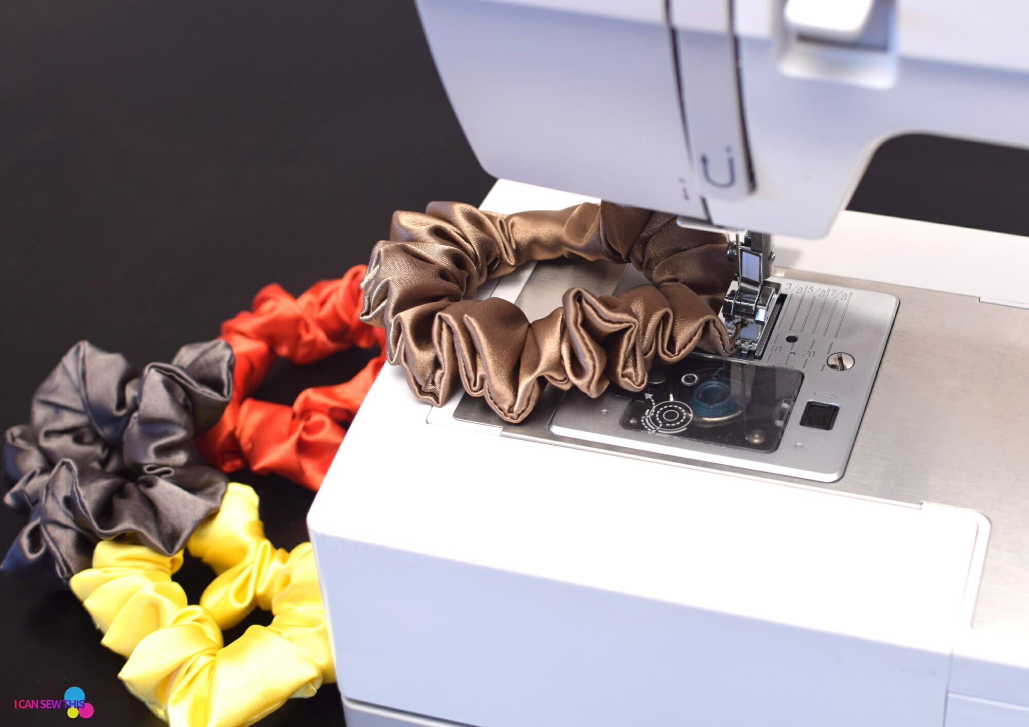 sewing machine, scrunchies