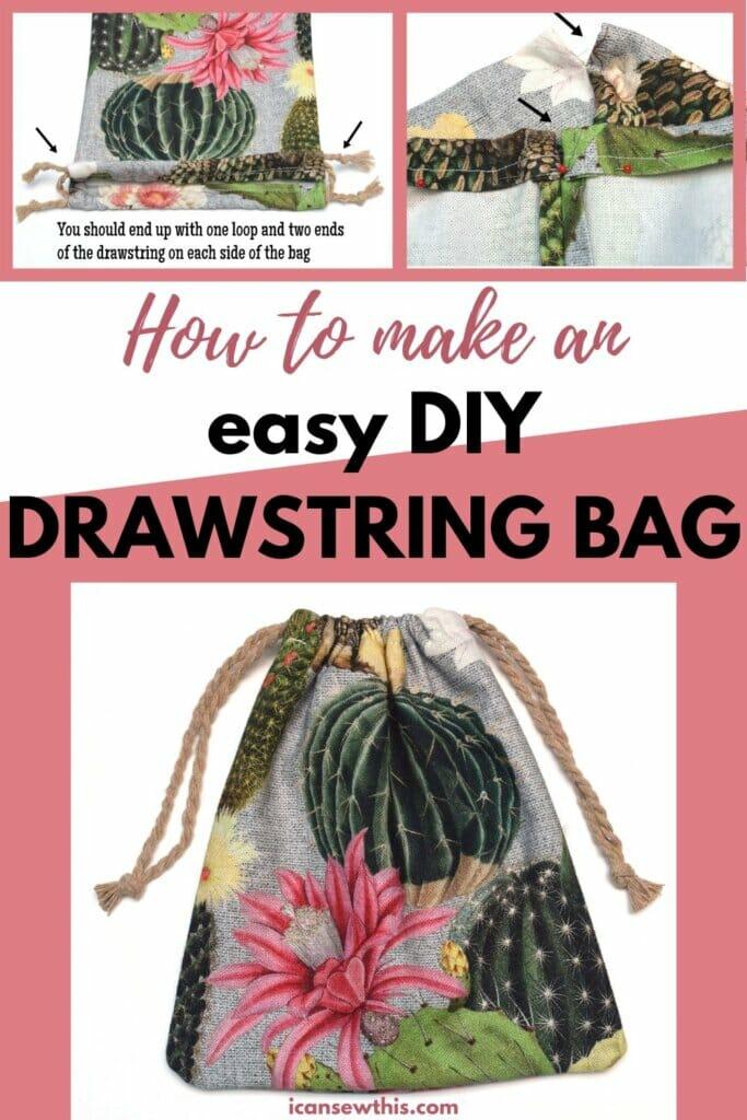 How to make - easy DIY drawstring bag tutorial