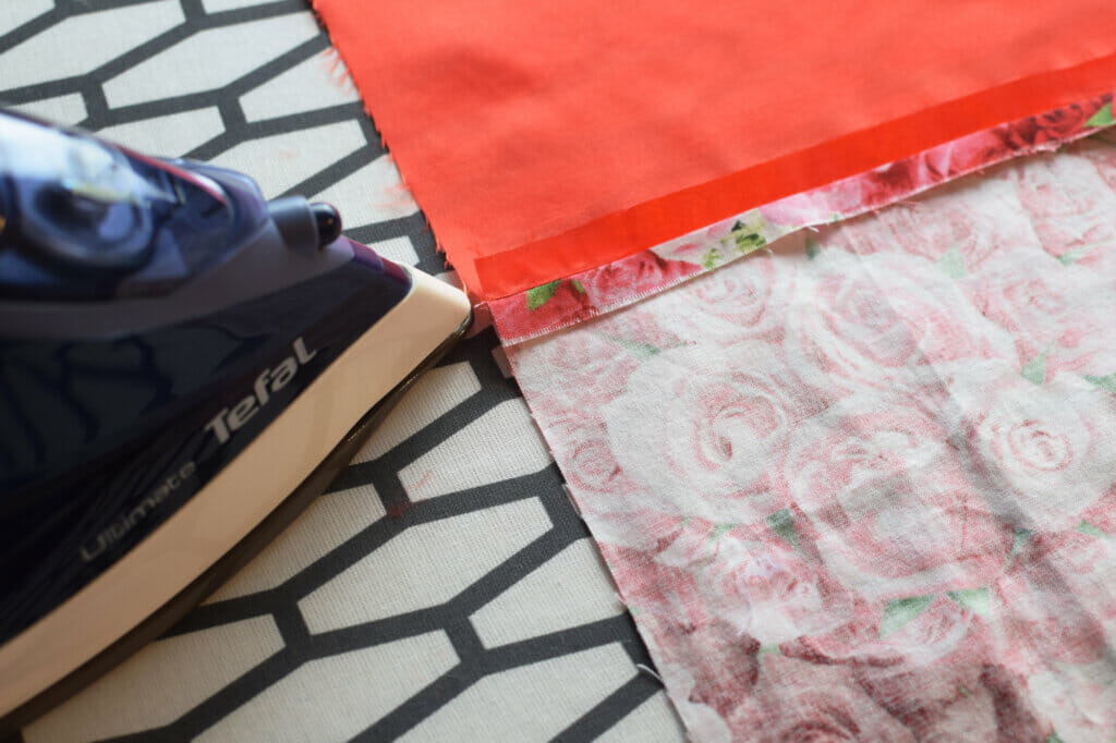 lined drawstring bag - press the seams