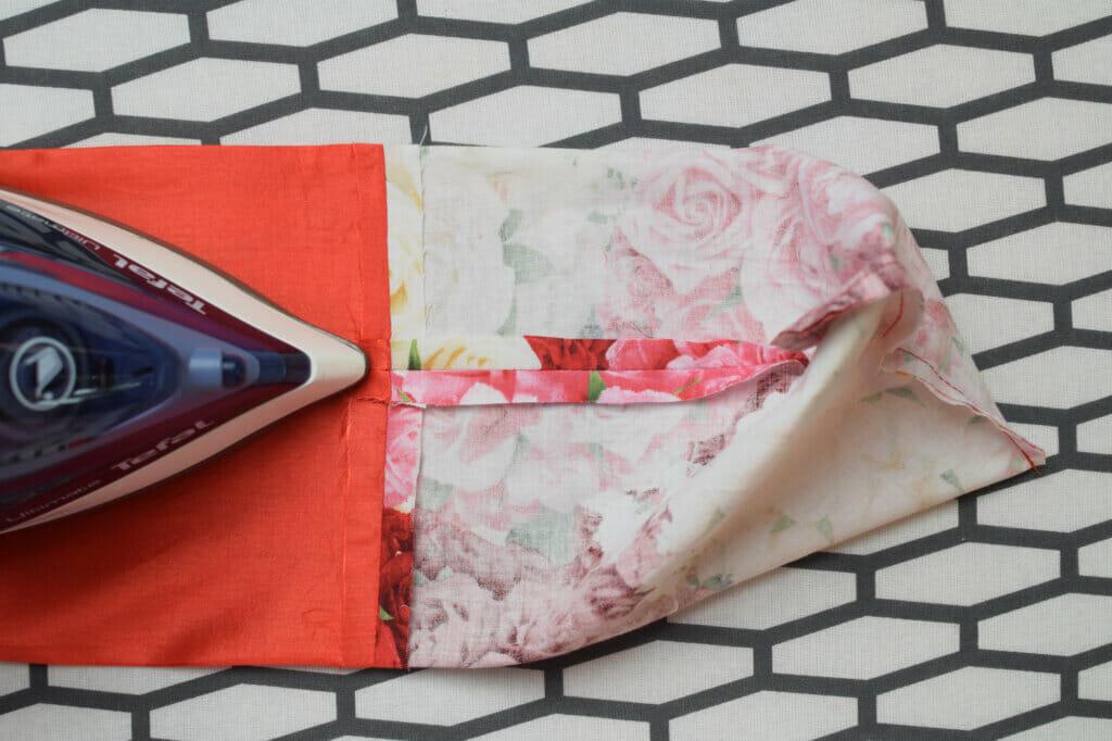 lined drawstring bag - ironing seams
