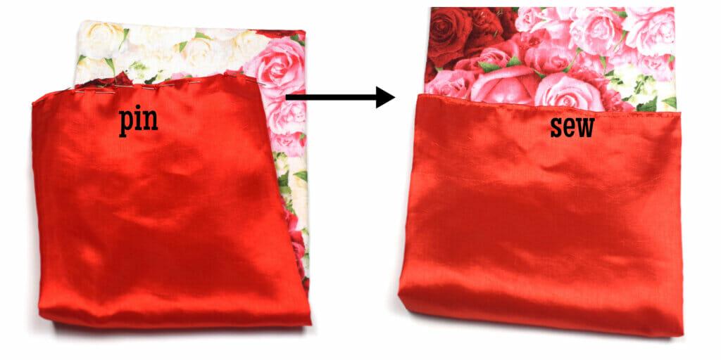 sew the bottom of the lining - drawstring bag tutorial