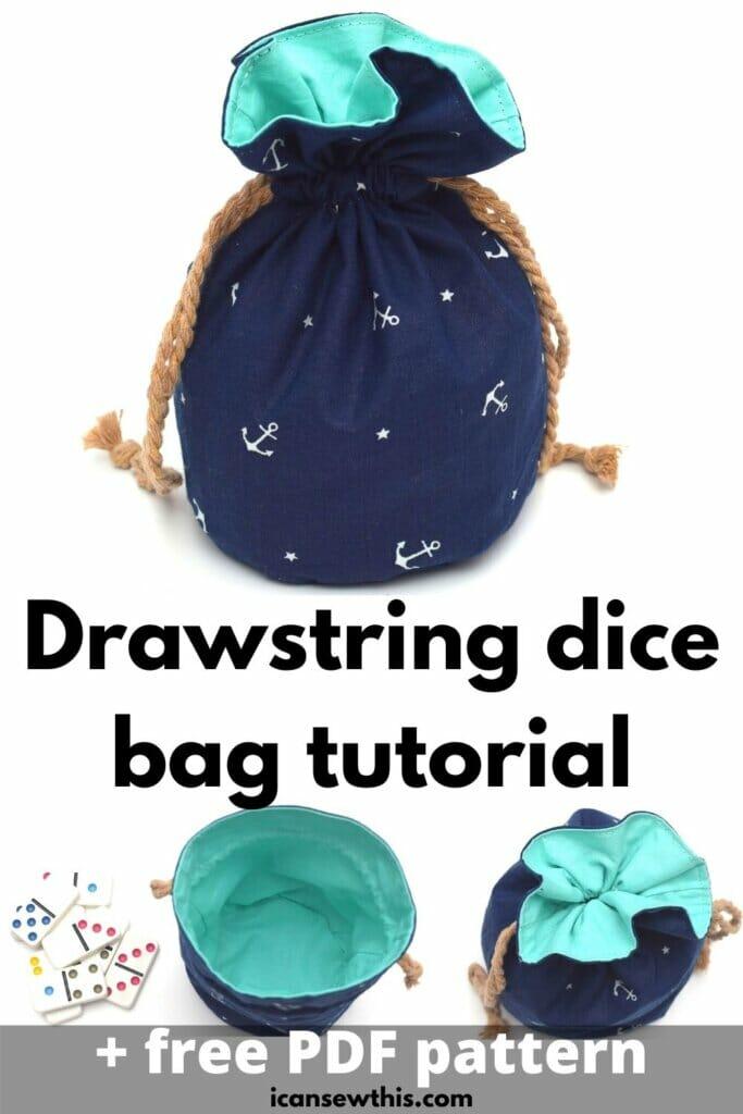 lined drawstring dice bag pattern