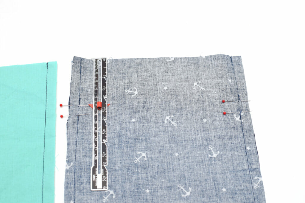 fabric, sewing pins, gauge