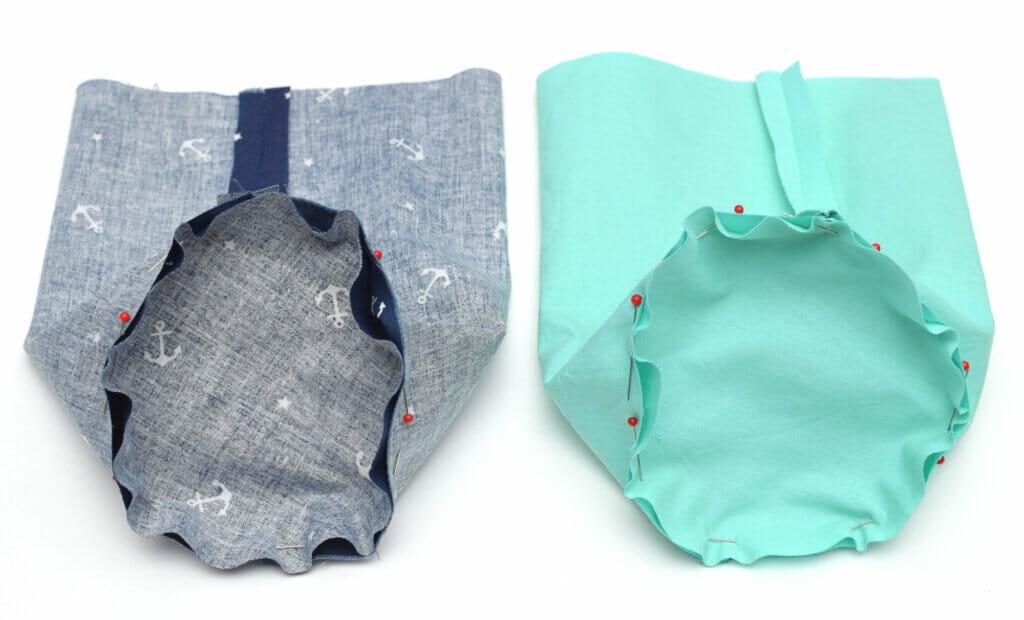 round bottom drawstring bag, pins