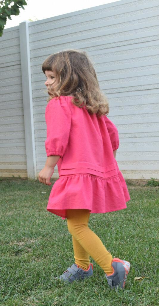 pink toddler peasant dress, DIY sewing