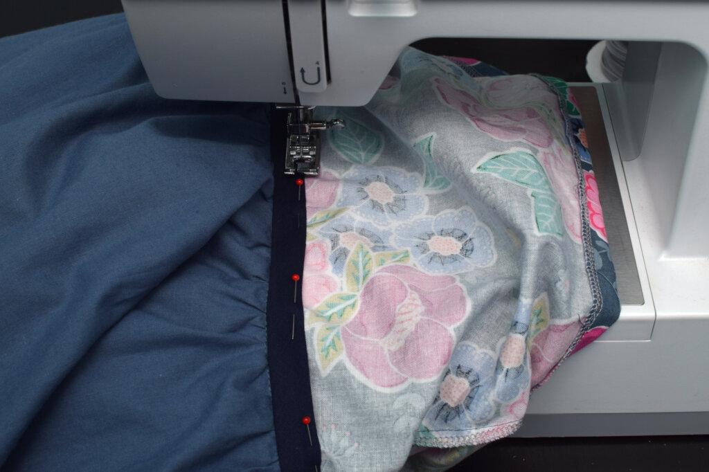sewing machine, bias tape, princess dress