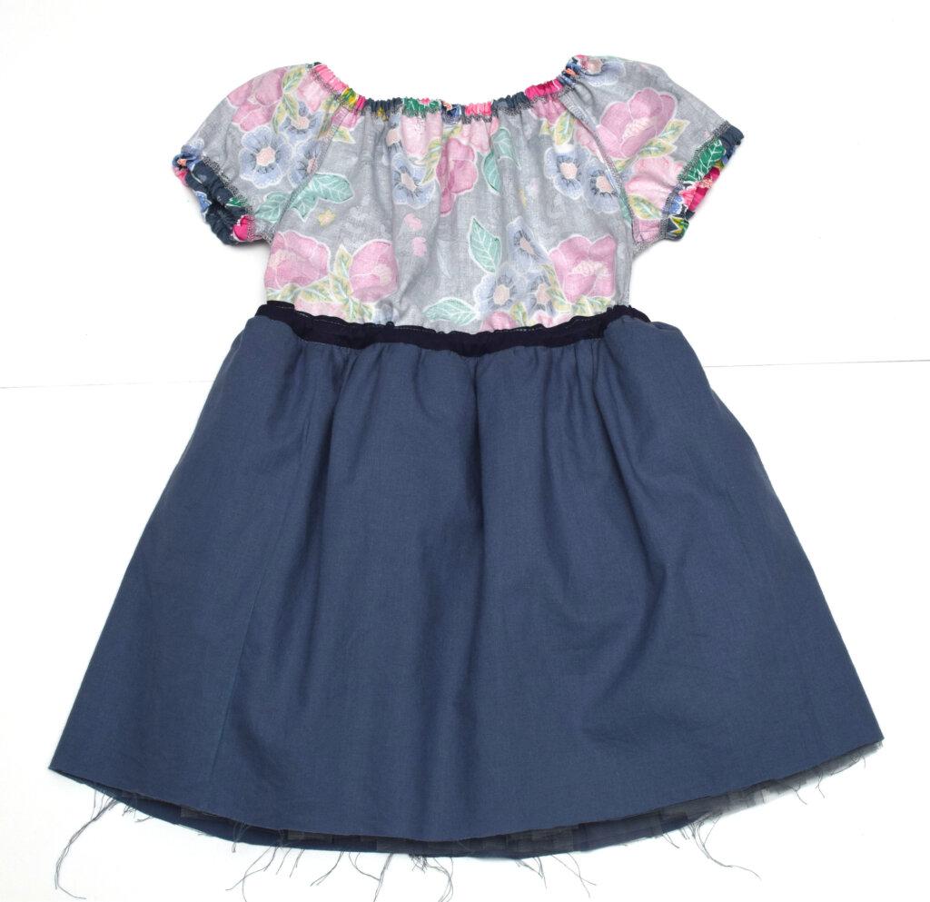 elastic neckline princess dress for girls