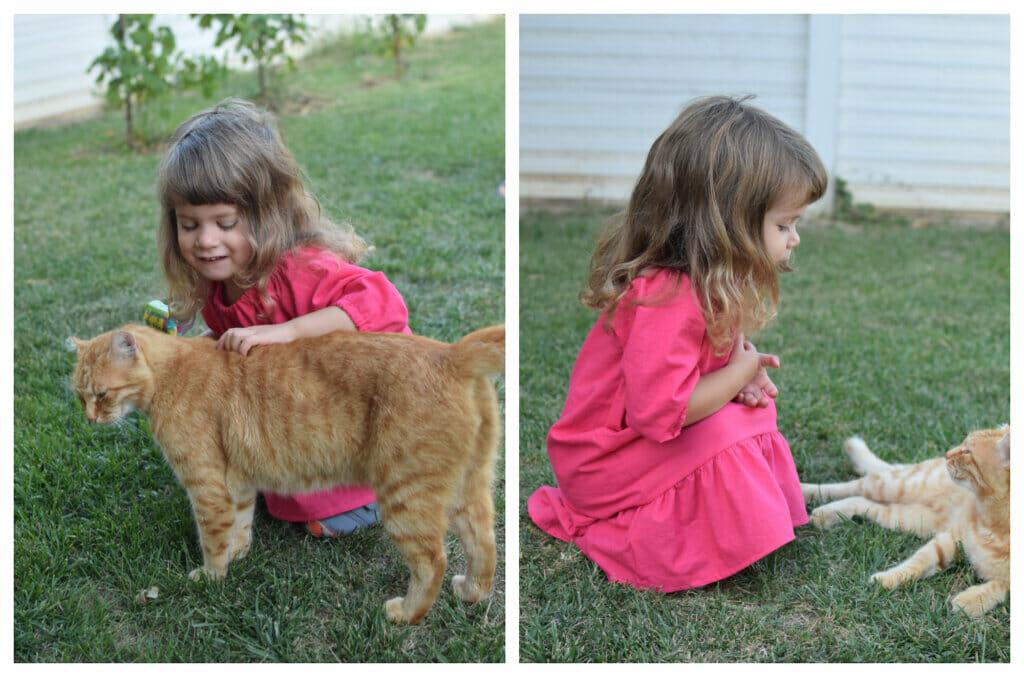 long sleeve peasant dress, ginger cat