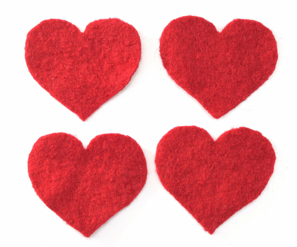 boiled wool hearts, red