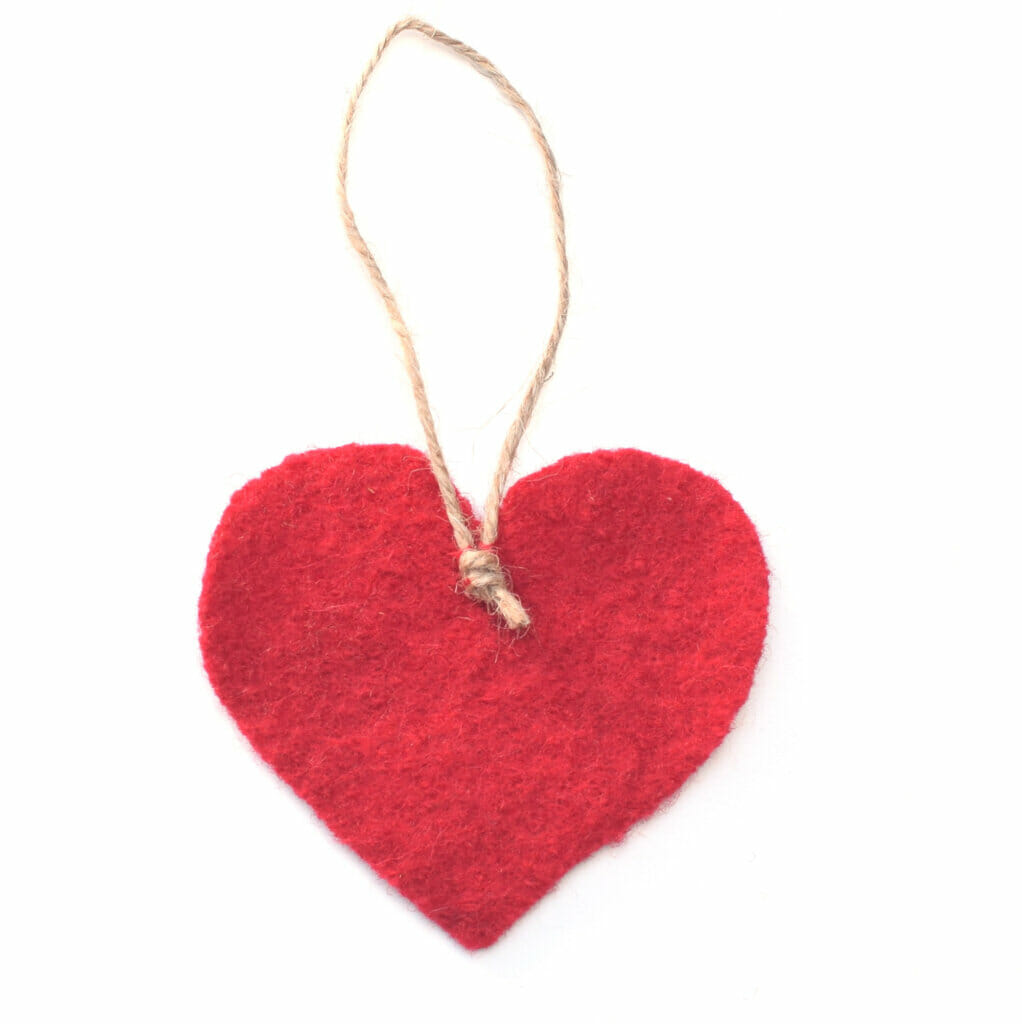 wool red hearts, hanging loop