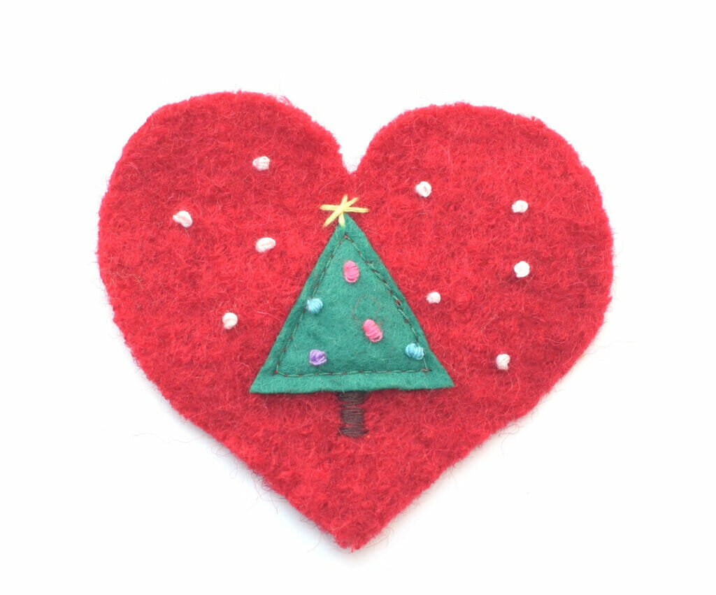 wool heart, Christmas ornament