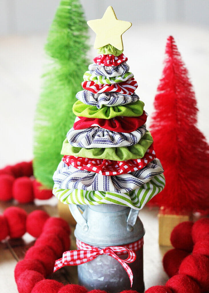 Fabric yo yo Christmas tree