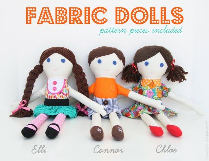 Girl & boy fabric dolls
