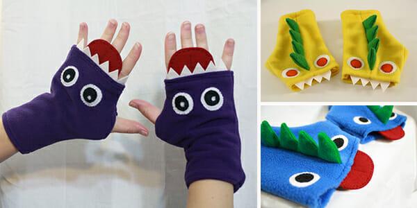 Fingerless fleece monster gloves