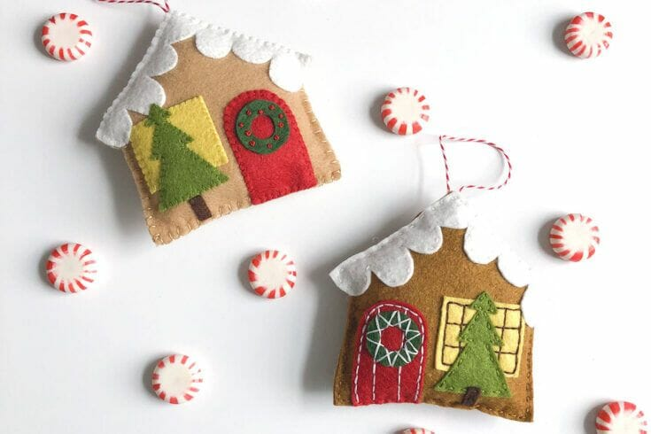 Felt Gingerbread House Christmas Ornament