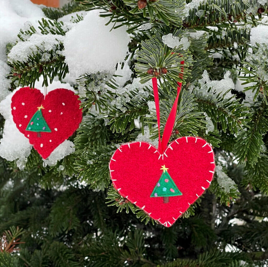 DIY heart shaped Christmas ornaments