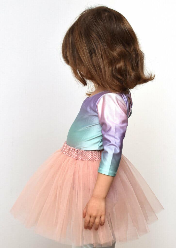 dusty pink tulle skirt, cotton waistband