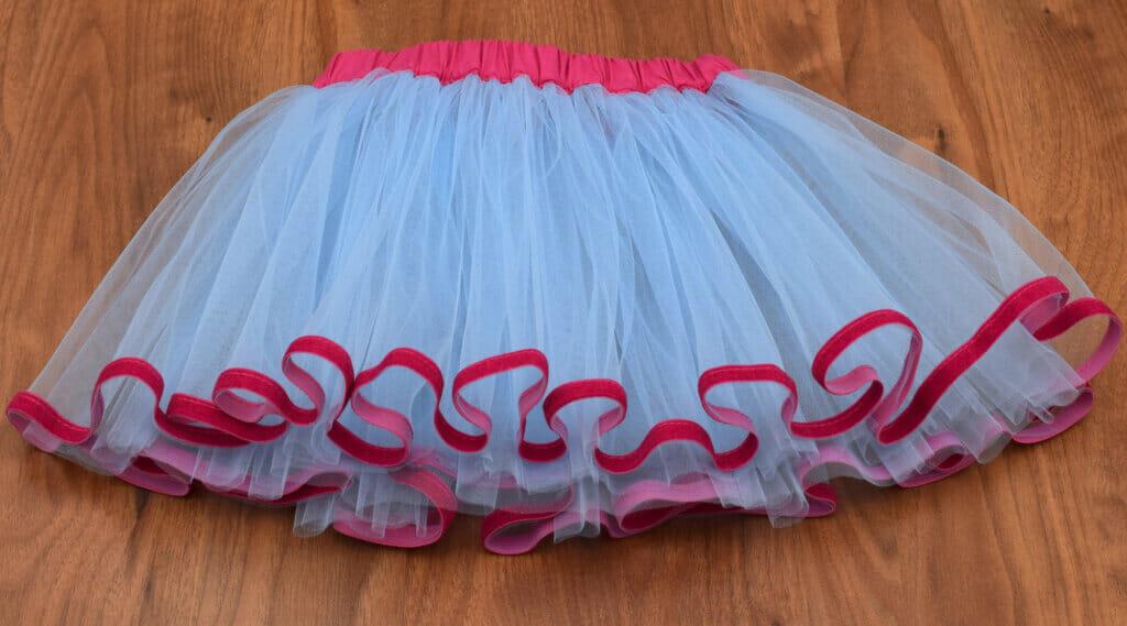 velvet ribbon trimmed tutu skirt, pink and blue