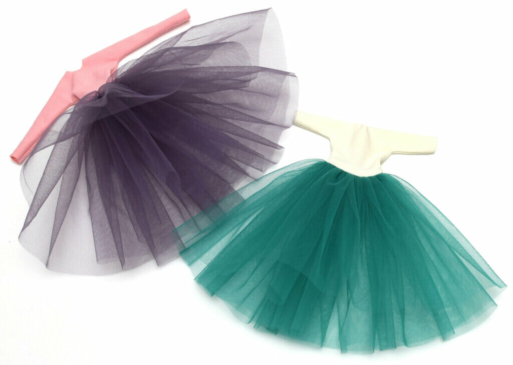 Barbie tulle dresses, pink and green