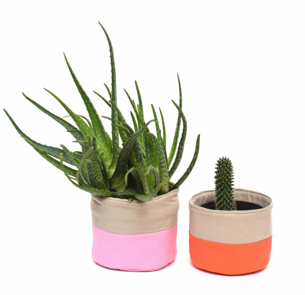round fabric basket, plant pot