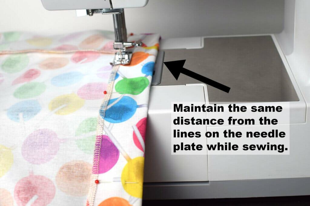 sewing straight seams, skirt hem