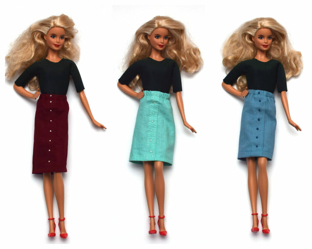 Faux button placket Barbie skirt tutorial