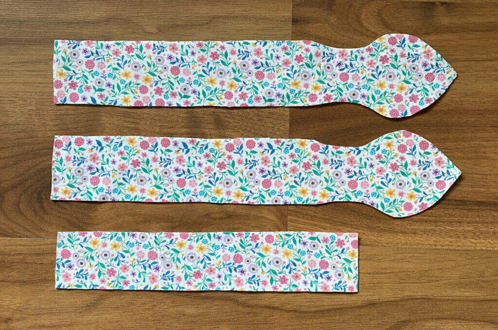 pattern pieces for a DIY knotted bow headband